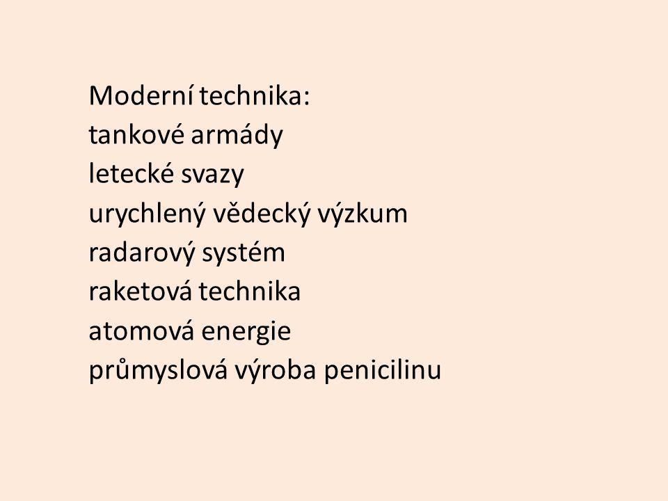 Moderní technika: tankové armády. letecké svazy. urychlený vědecký výzkum. radarový systém. raketová technika.