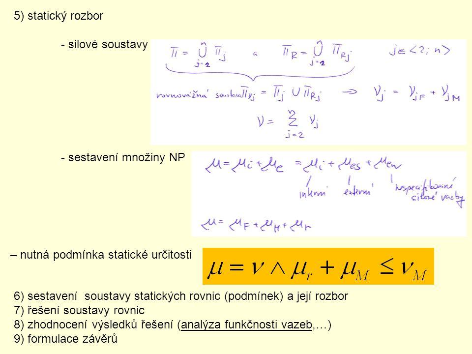 5) statický rozbor - silové soustavy. - sestavení množiny NP. – nutná podmínka statické určitosti.