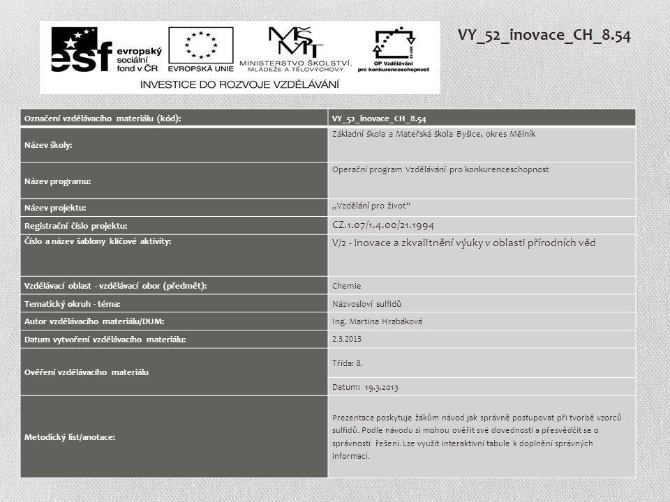 VY_52_inovace_CH_8.54 Označení vzdělávacího materiálu (kód): VY_52_inovace_CH_8.54. Název školy: