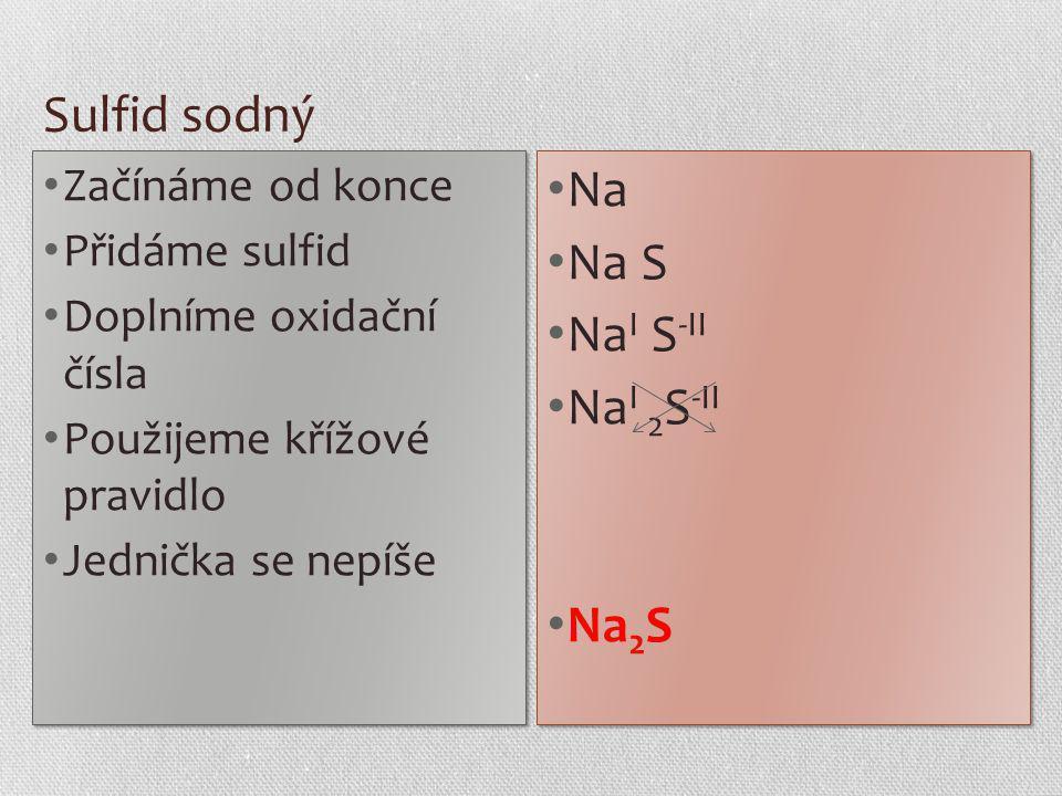 Sulfid sodný Na Na S NaI S-II NaI 2S-II Na2S Začínáme od konce