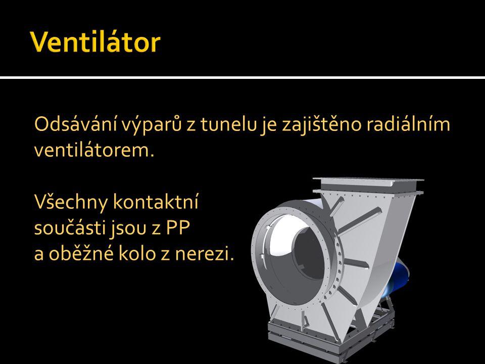 Ventilátor Odsávání výparů z tunelu je zajištěno radiálním ventilátorem.