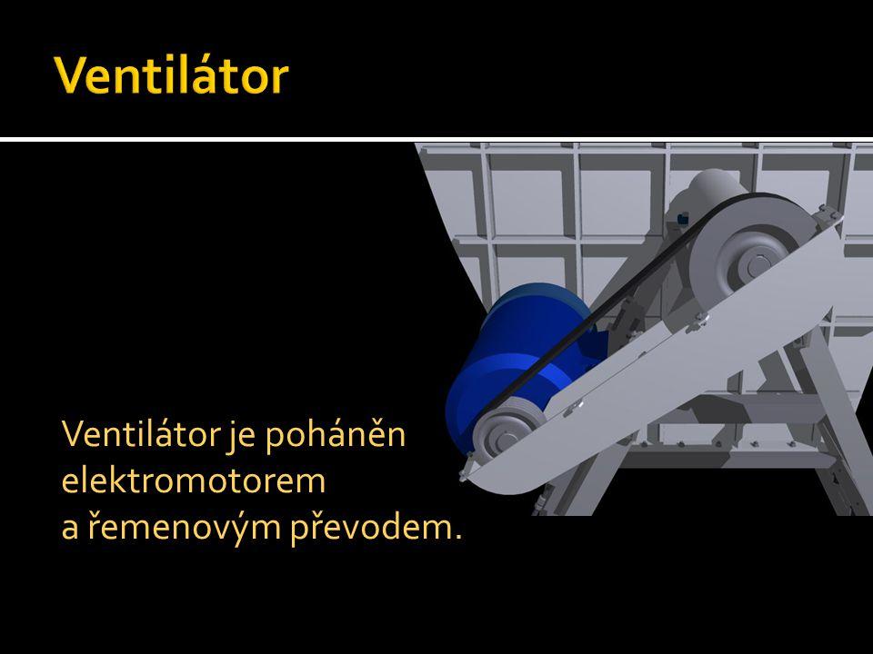 Ventilátor Ventilátor je poháněn elektromotorem a řemenovým převodem.