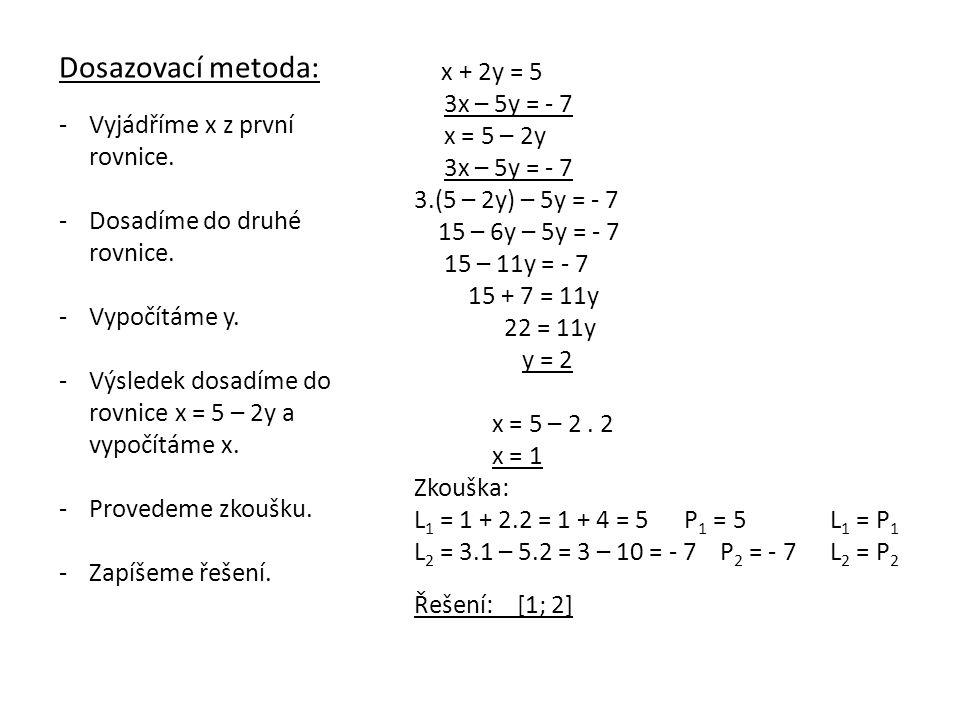 Dosazovací metoda: 3x – 5y = - 7 x = 5 – 2y