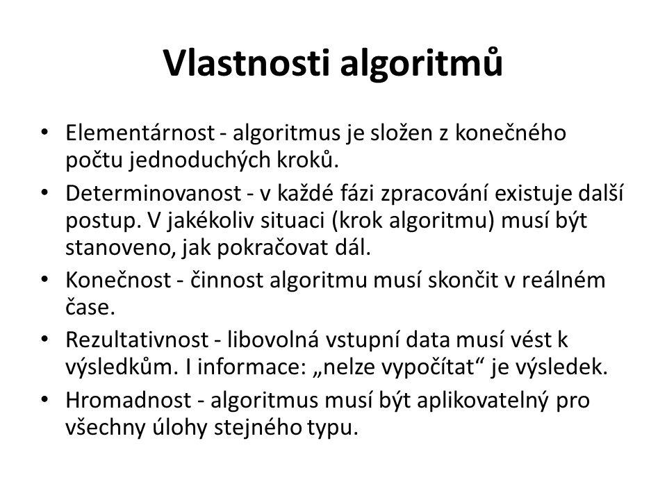 Vlastnosti algoritmů Elementárnost - algoritmus je složen z konečného počtu jednoduchých kroků.