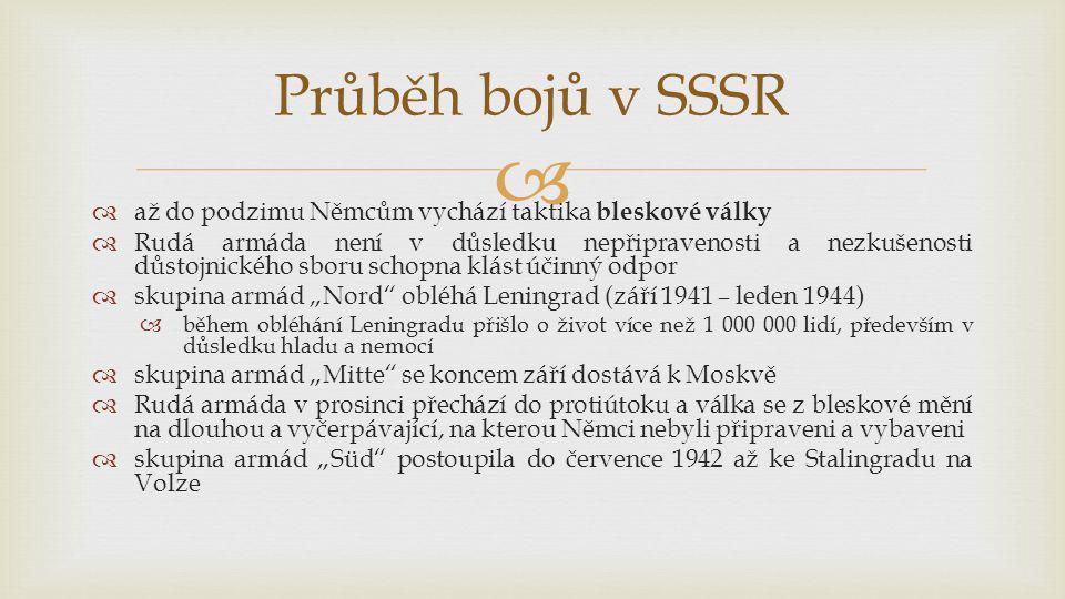 Průběh bojů v SSSR až do podzimu Němcům vychází taktika bleskové války