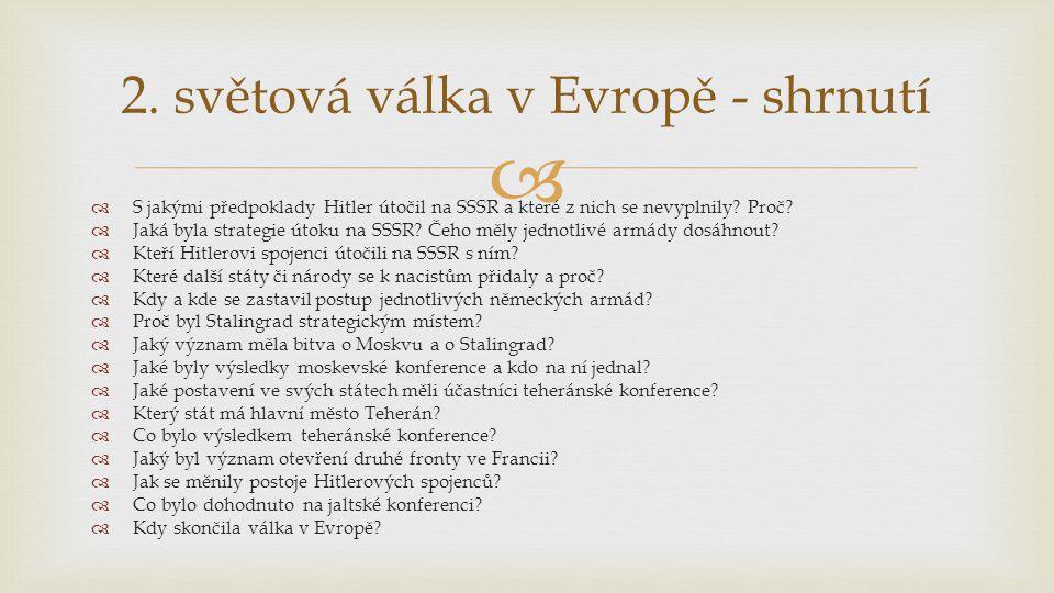 2. světová válka v Evropě - shrnutí