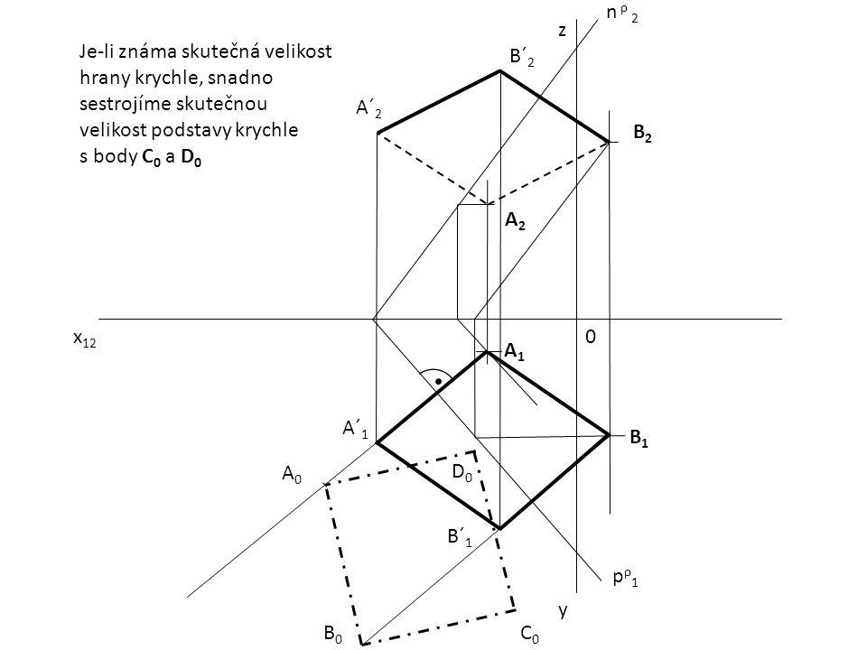 n ρ 2 z. Je-li známa skutečná velikost hrany krychle, snadno sestrojíme skutečnou velikost podstavy krychle.