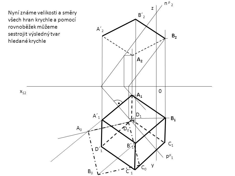 n ρ 2 z. Nyní známe velikosti a směry všech hran krychle a pomocí rovnoběžek můžeme sestrojit výsledný tvar hledané krychle.