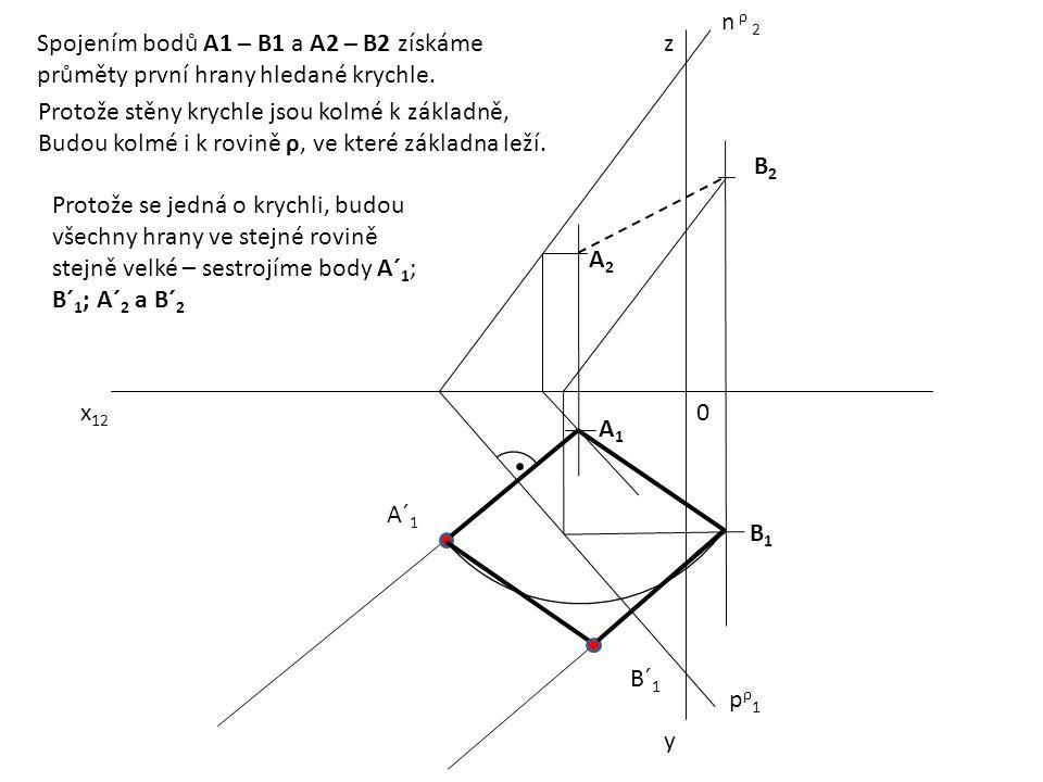 n ρ 2 Spojením bodů A1 – B1 a A2 – B2 získáme. průměty první hrany hledané krychle. z. Protože stěny krychle jsou kolmé k základně,
