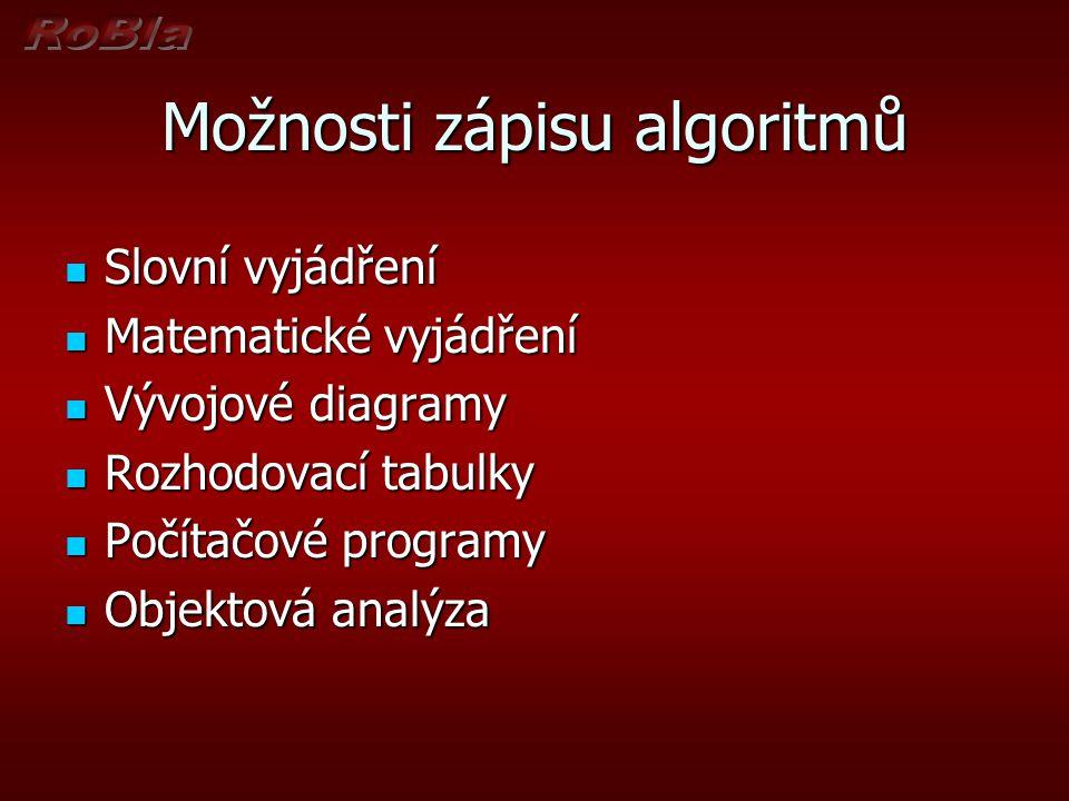 Možnosti zápisu algoritmů