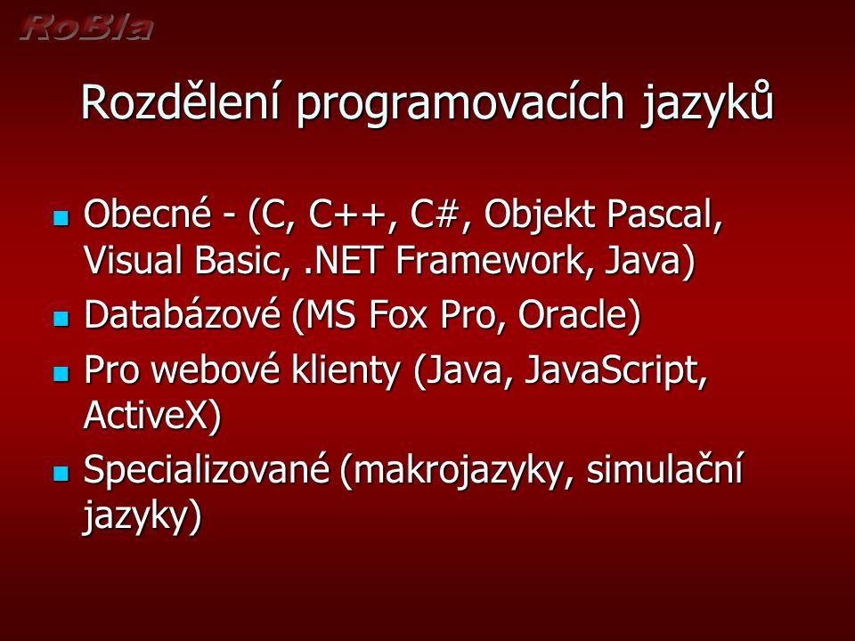 Rozdělení programovacích jazyků