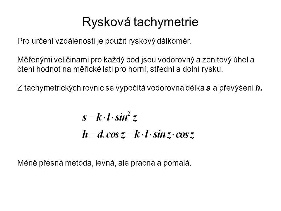 Rysková tachymetrie Pro určení vzdáleností je použit ryskový dálkoměr.