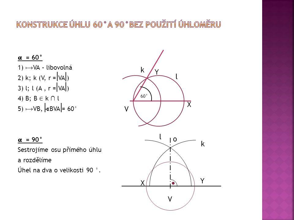 Konstrukce úhlu 60°a 90°bez použití úhloměru