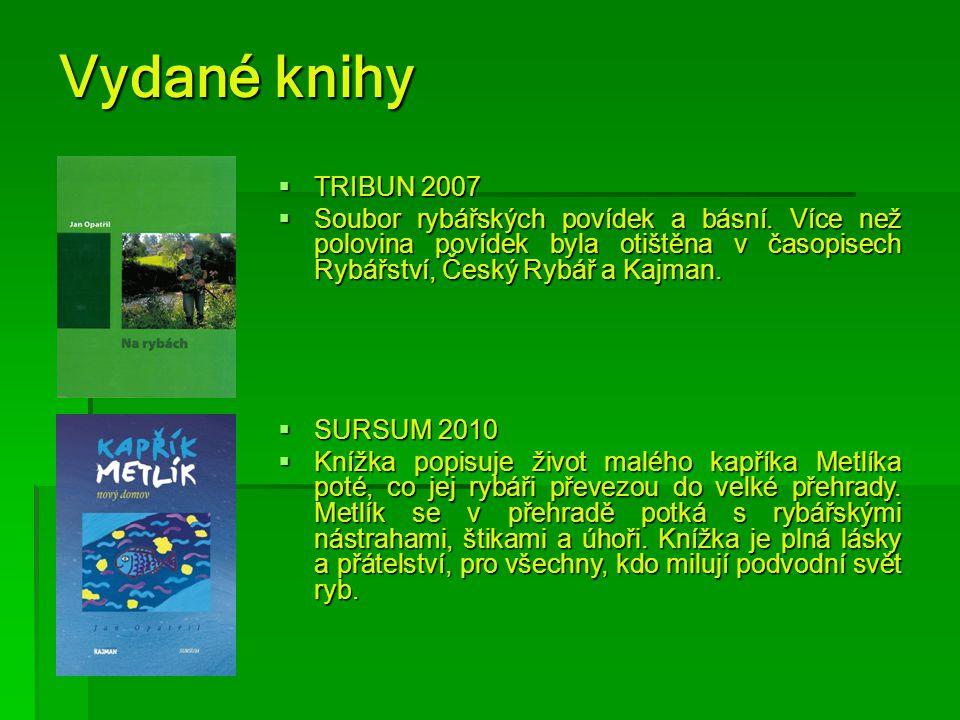 Vydané knihy TRIBUN 2007. Soubor rybářských povídek a básní. Více než polovina povídek byla otištěna v časopisech Rybářství, Český Rybář a Kajman.