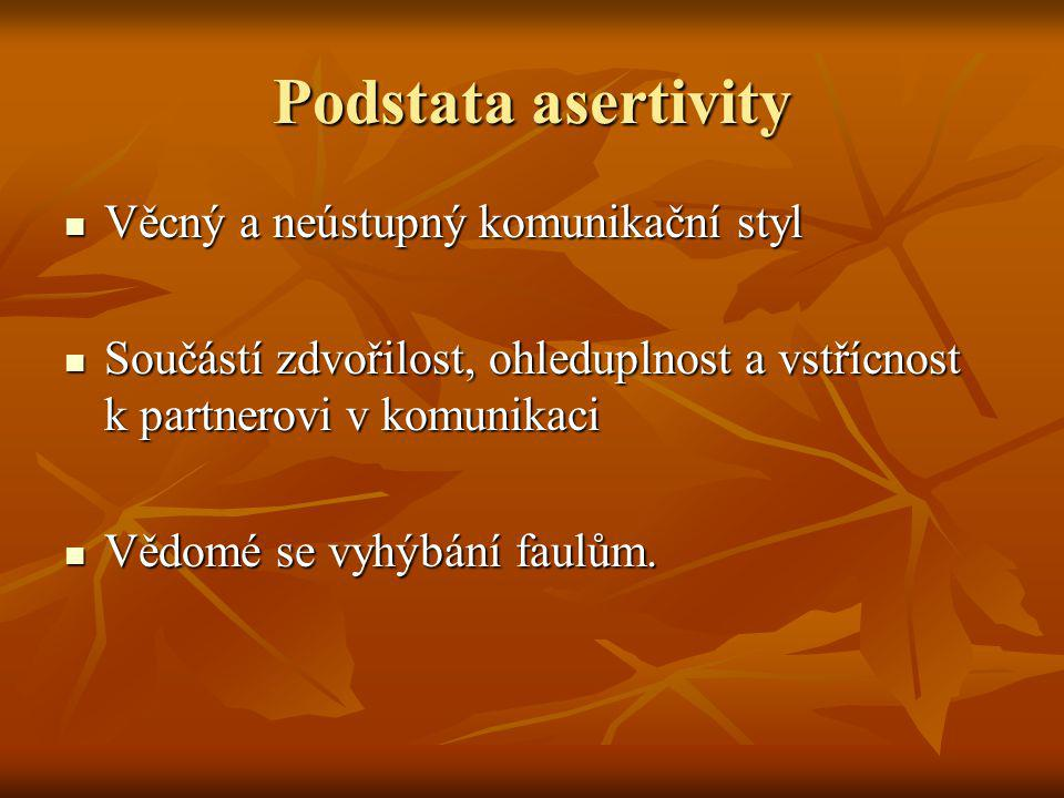 Podstata asertivity Věcný a neústupný komunikační styl