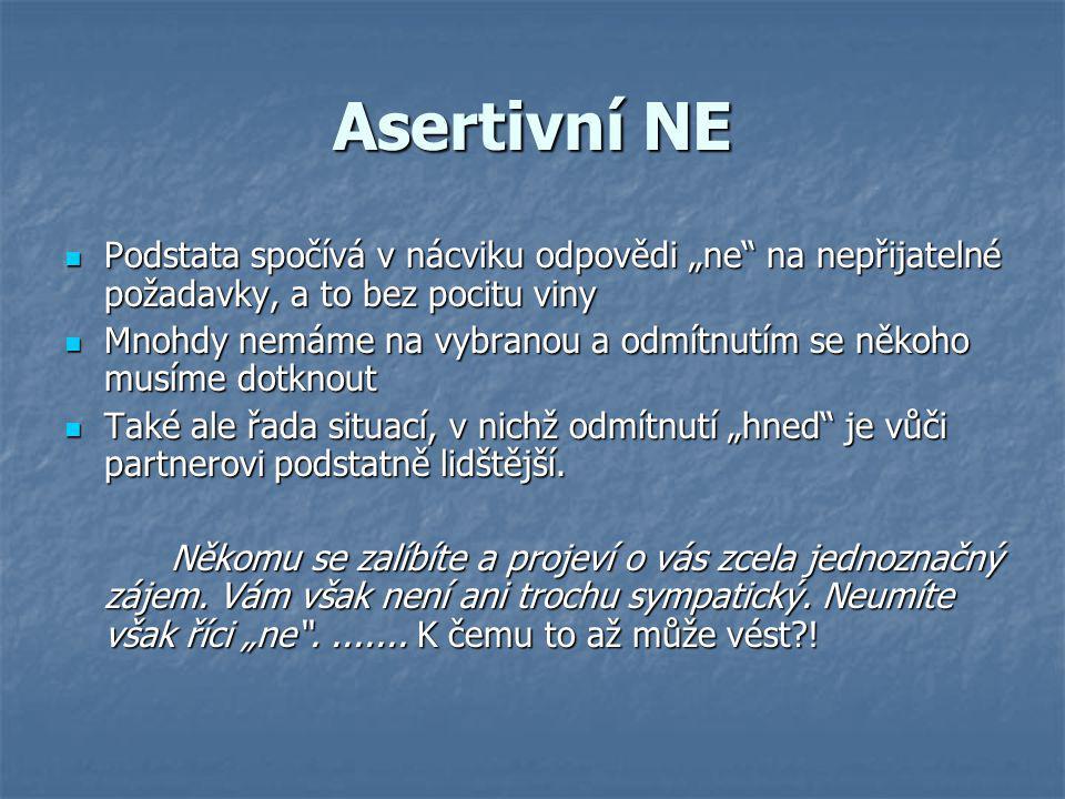 """Asertivní NE Podstata spočívá v nácviku odpovědi """"ne na nepřijatelné požadavky, a to bez pocitu viny."""