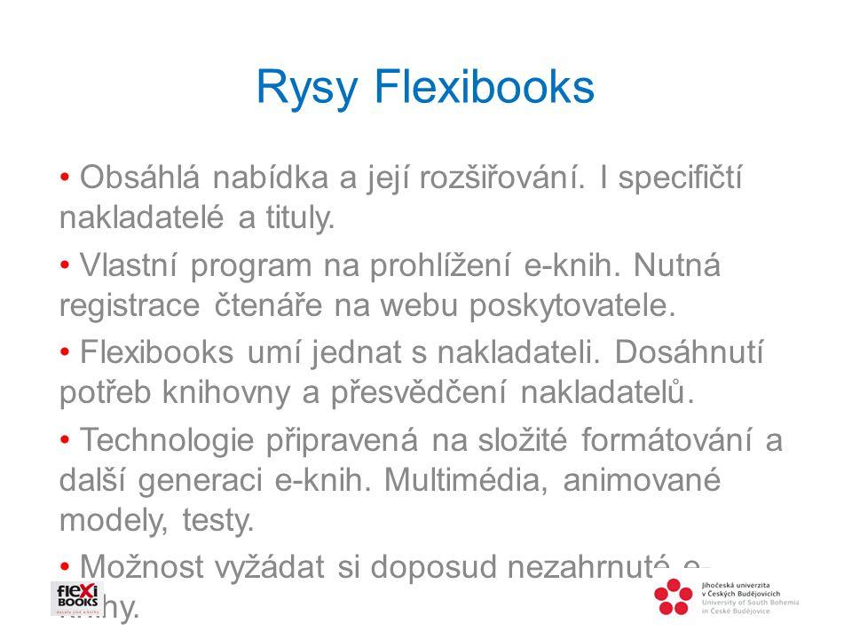 Rysy Flexibooks • Obsáhlá nabídka a její rozšiřování. I specifičtí nakladatelé a tituly.