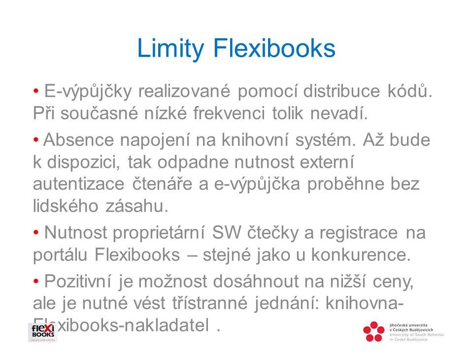 Limity Flexibooks • E-výpůjčky realizované pomocí distribuce kódů. Při současné nízké frekvenci tolik nevadí.
