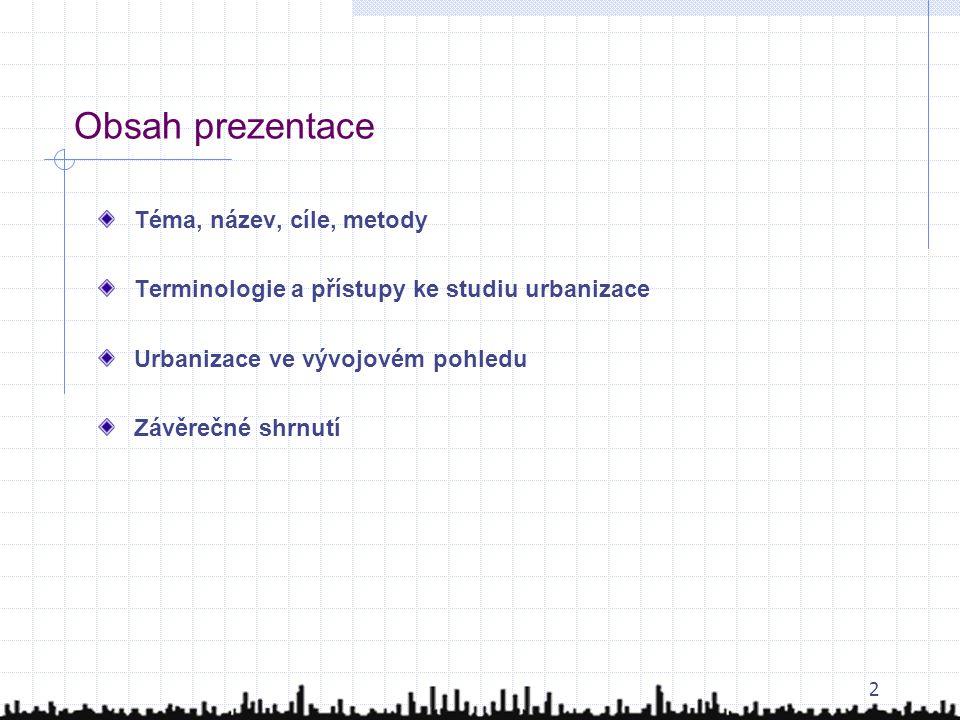 Obsah prezentace Téma, název, cíle, metody