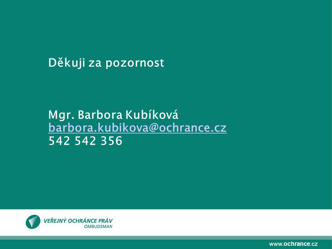 Děkuji za pozornost Mgr. Barbora Kubíková barbora.kubikova@ochrance.cz 542 542 356
