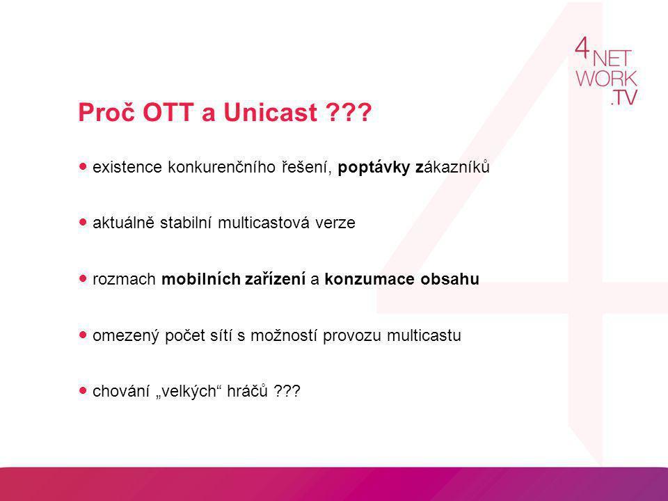 Proč OTT a Unicast ● existence konkurenčního řešení, poptávky zákazníků. ● aktuálně stabilní multicastová verze.