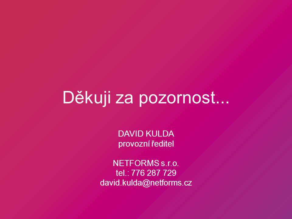 Děkuji za pozornost... DAVID KULDA provozní ředitel NETFORMS s.r.o.