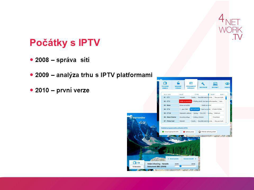 Počátky s IPTV ● 2008 – správa sítí