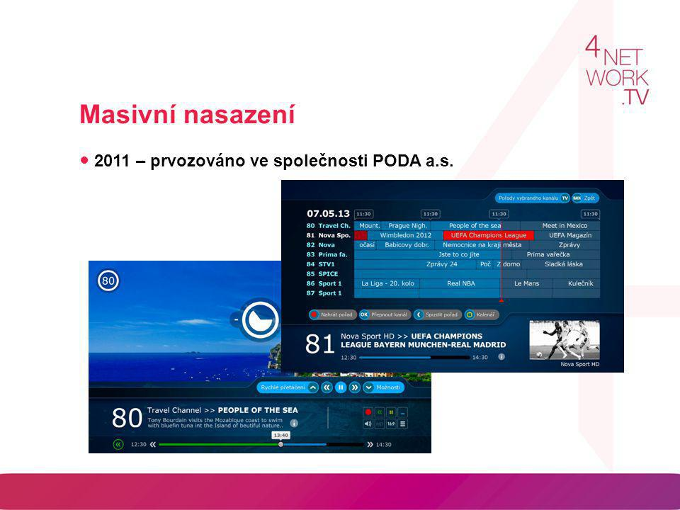 Masivní nasazení ● 2011 – prvozováno ve společnosti PODA a.s.