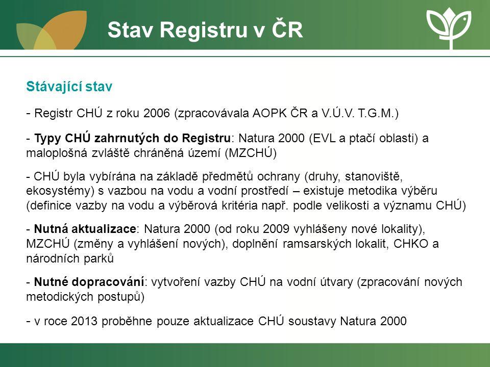 Stav Registru v ČR Stávající stav
