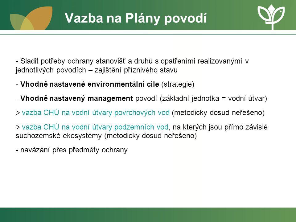 Vazba na Plány povodí Sladit potřeby ochrany stanovišť a druhů s opatřeními realizovanými v jednotlivých povodích – zajištění příznivého stavu.