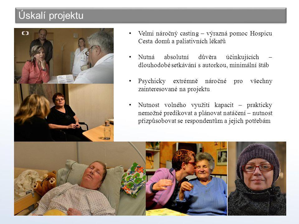 Úskalí projektu Velmi náročný casting – výrazná pomoc Hospicu Cesta domů a paliativních lékařů.