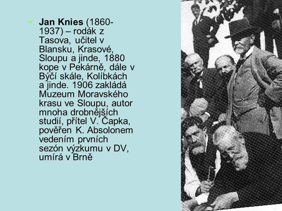 Jan Knies (1860- 1937) – rodák z Tasova, učitel v Blansku, Krasové, Sloupu a jinde, 1880 kope v Pekárně, dále v Býčí skále, Kolíbkách a jinde.