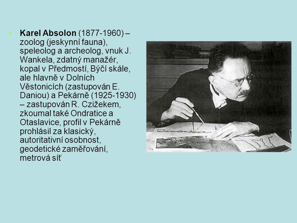 Karel Absolon (1877-1960) – zoolog (jeskynní fauna), speleolog a archeolog, vnuk J.