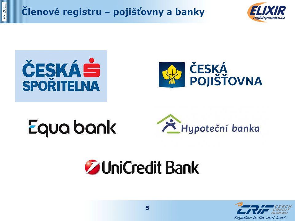 Členové registru – pojišťovny a banky