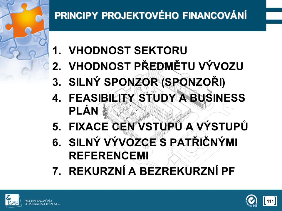 PRINCIPY PROJEKTOVÉHO FINANCOVÁNÍ