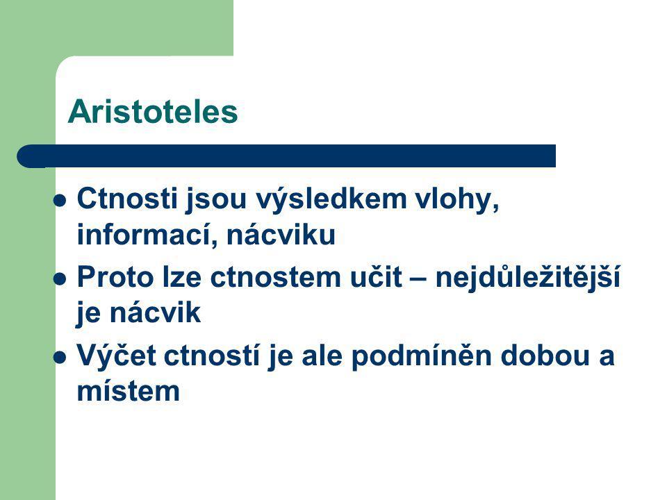 Aristoteles Ctnosti jsou výsledkem vlohy, informací, nácviku