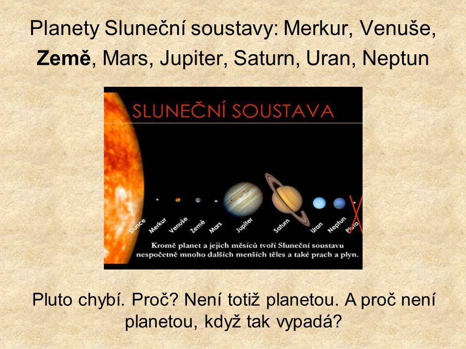 Planety Sluneční soustavy: Merkur, Venuše, Země, Mars, Jupiter, Saturn, Uran, Neptun