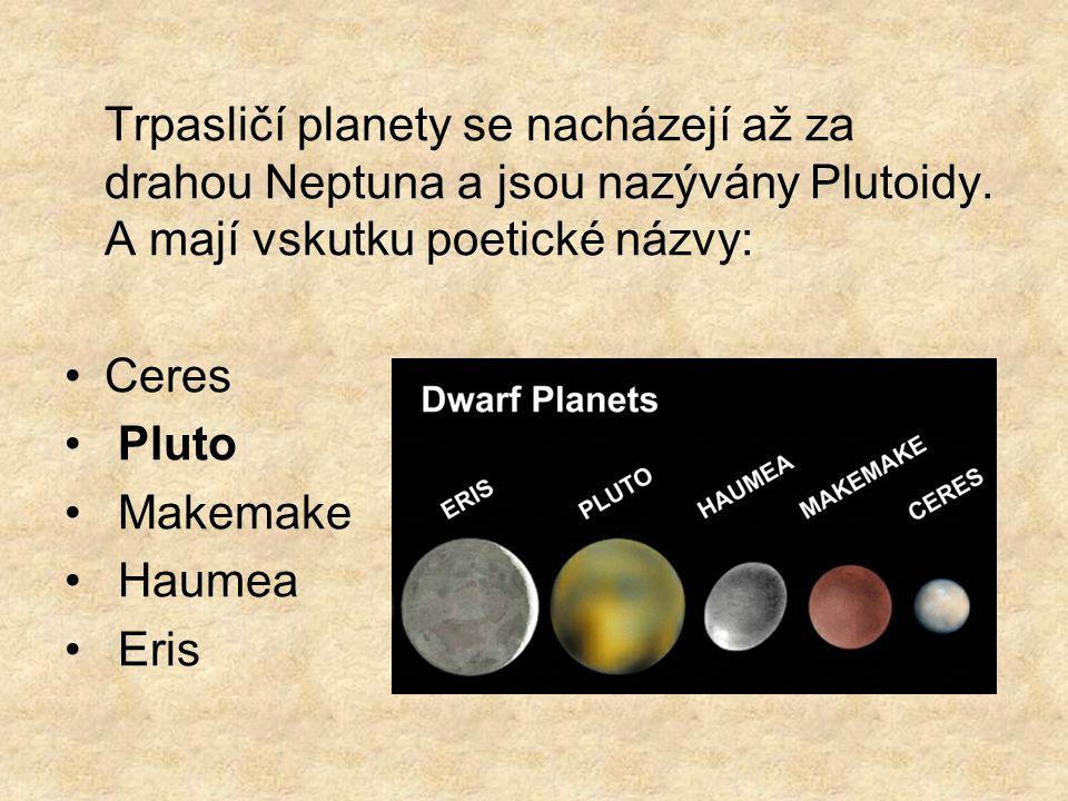 Trpasličí planety se nacházejí až za drahou Neptuna a jsou nazývány Plutoidy. A mají vskutku poetické názvy: