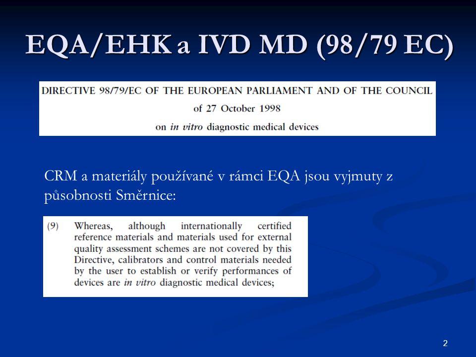 EQA/EHK a IVD MD (98/79 EC) CRM a materiály používané v rámci EQA jsou vyjmuty z působnosti Směrnice: