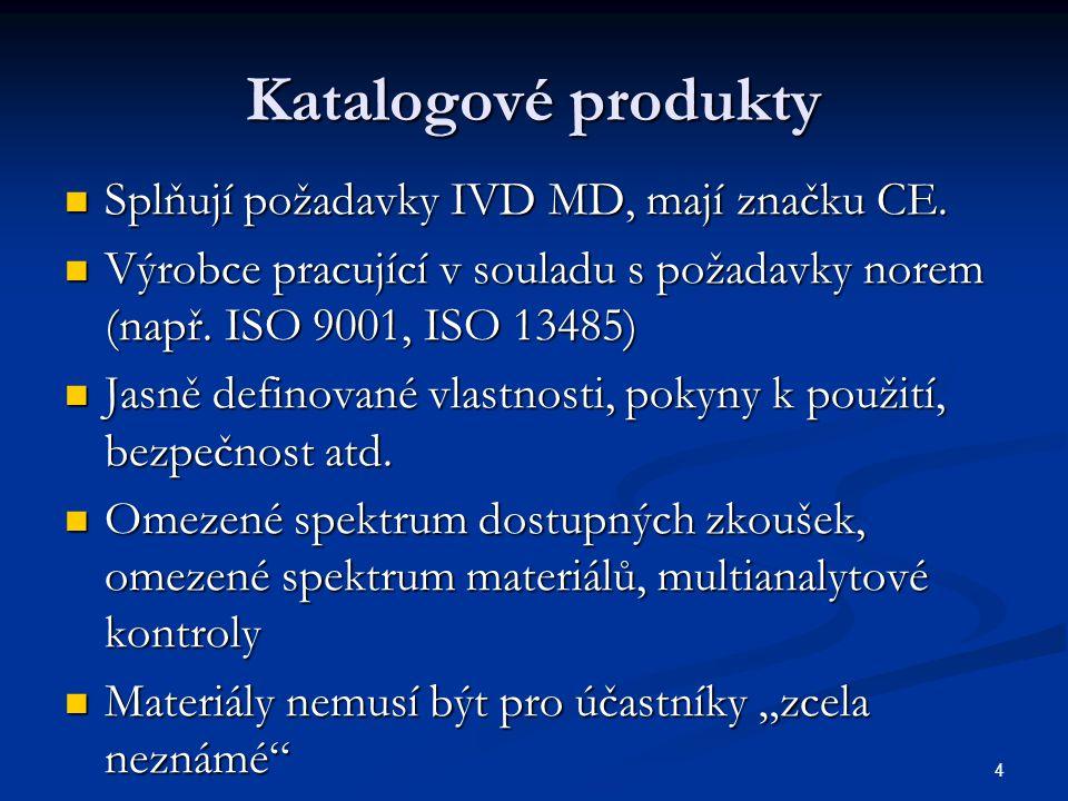 Katalogové produkty Splňují požadavky IVD MD, mají značku CE.