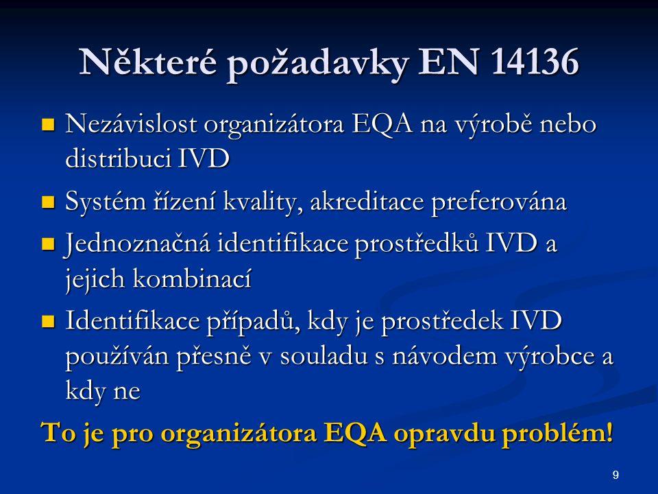Některé požadavky EN 14136 Nezávislost organizátora EQA na výrobě nebo distribuci IVD. Systém řízení kvality, akreditace preferována.