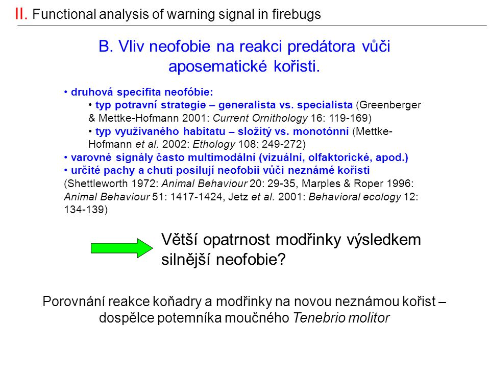 II. Functional analysis of warning signal in firebugs