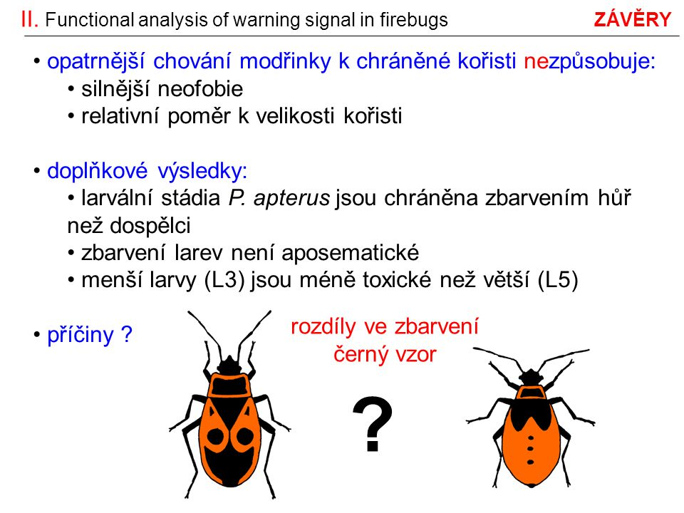 II. Functional analysis of warning signal in firebugs ZÁVĚRY