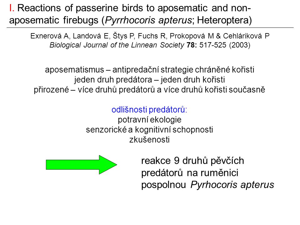 I. Reactions of passerine birds to aposematic and non-aposematic firebugs (Pyrrhocoris apterus; Heteroptera)