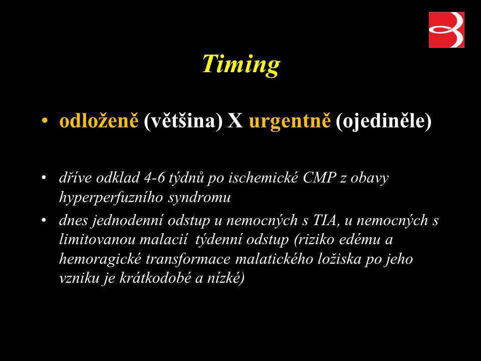 Timing odloženě (většina) X urgentně (ojediněle)