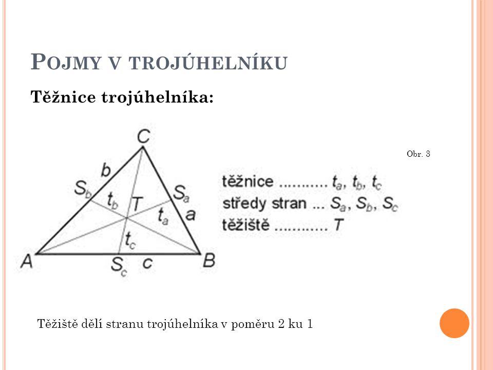 Pojmy v trojúhelníku Těžnice trojúhelníka: