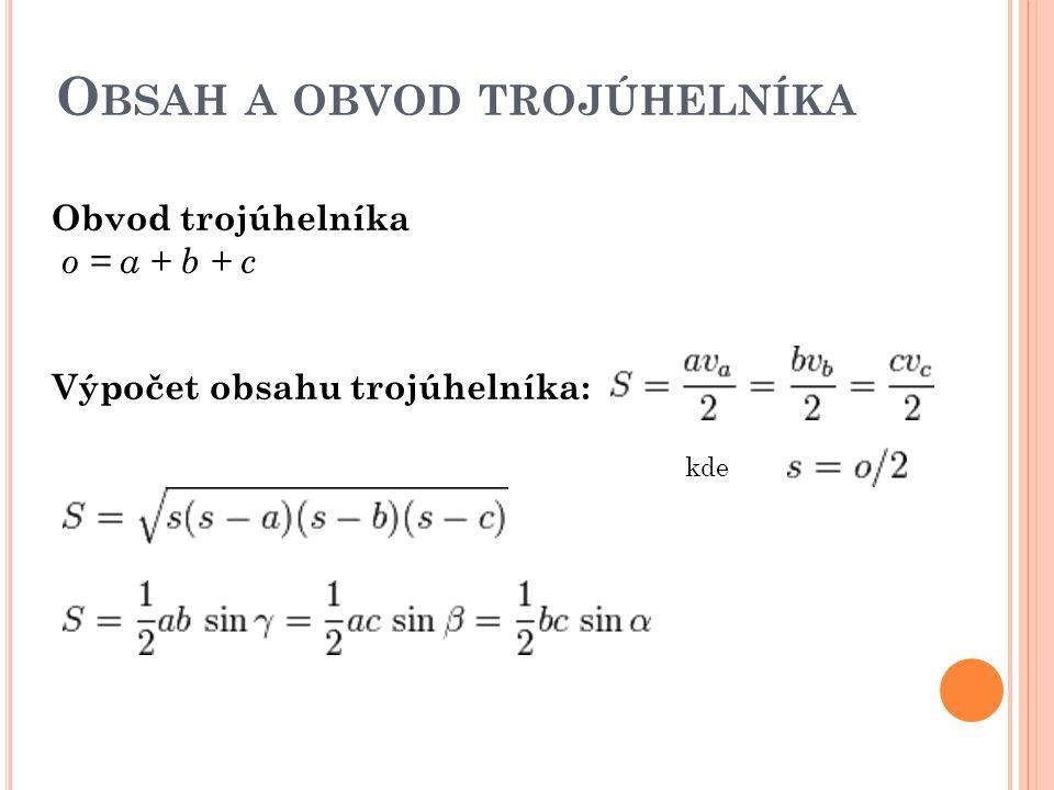 Obsah a obvod trojúhelníka