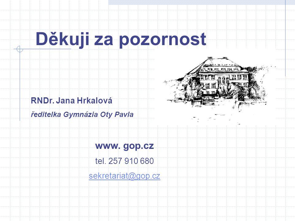 Děkuji za pozornost www. gop.cz RNDr. Jana Hrkalová tel. 257 910 680