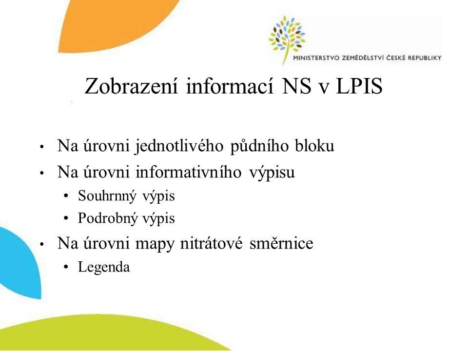 Zobrazení informací NS v LPIS