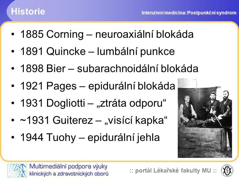 1885 Corning – neuroaxiální blokáda 1891 Quincke – lumbální punkce